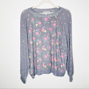 Wildfox Hazy Bloom Floral Printed Pullover Sweater